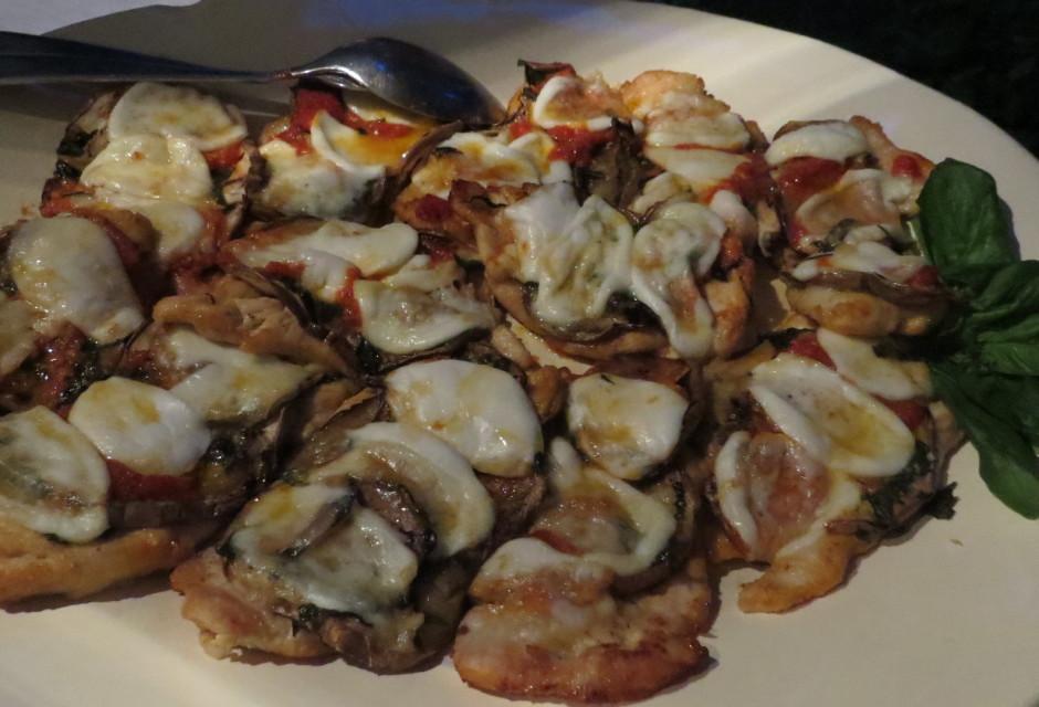 Chicken, eggplant, tomatoes, bufalo mozzarella