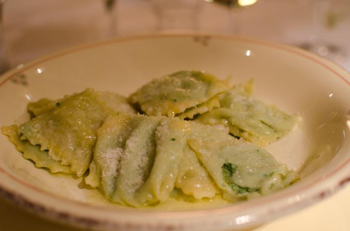 Spinach ravioli in sage butter
